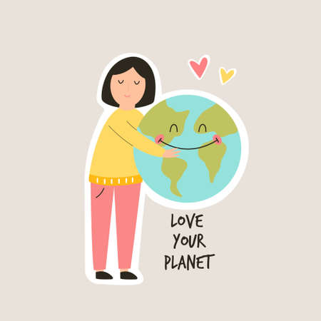 Young girl hugging smiling Earth planet. Love you planet concept. Eco friendly, cute illustration.
