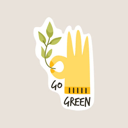 Go green slogan. Environmental concept. Hand showing ok and holding stem with leaves. Illusztráció