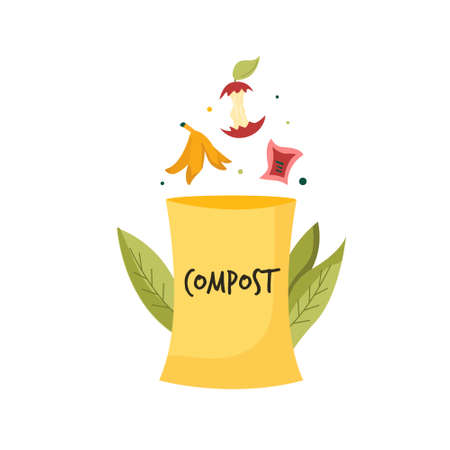 Composting bin with food leftovers, waste. Zero waste concept. Bright vector illustration