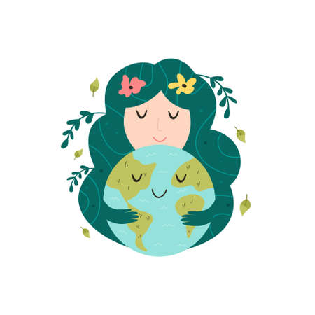 Mother nature hugging smiling Earth planet. Love you planet concept. Earth day. Cute vector illustration Illusztráció
