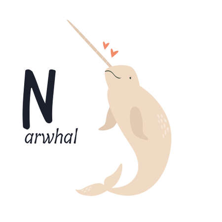 Funny image of narwhal and letter N. Zoo alphabet collection. Vector illustration