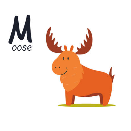 Funny image of moose and letter M. Zoo alphabet collection. Vector illustration Illusztráció