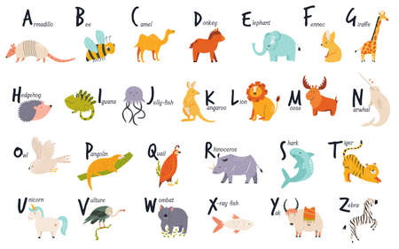 Colorful alphabet with cute funny animals. English letters. Vector illustration Illusztráció