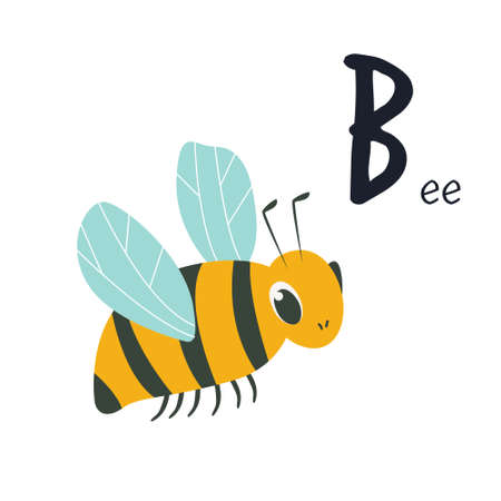Funny image of a bee and letter B. Zoo alphabet collection. Vector illustration