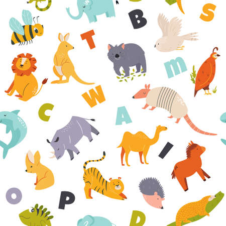 Colorful seamless pattern with wild cute funny animals and English letters. Vector illustration Illusztráció