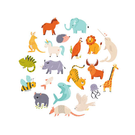 Big set of cute funny animals. Abstract design with wild characters for children. Vector illustration