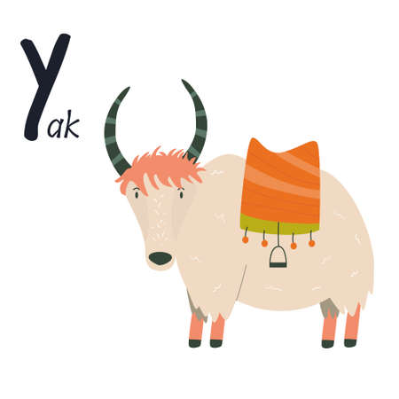 Funny image of yak and letter Y. Zoo alphabet collection. Vector illustration