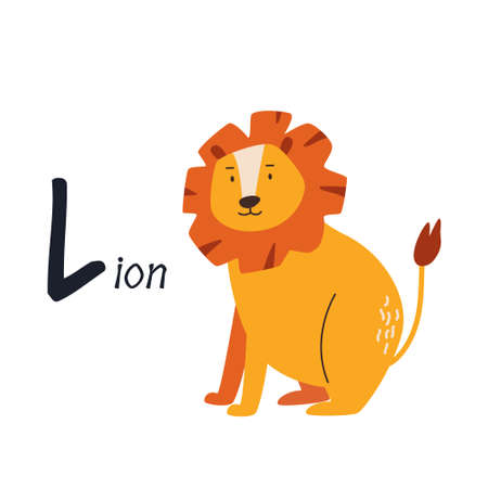 Funny image of lion and letter L. Zoo alphabet collection. Vector illustration