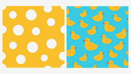 Set of two seamless patterns with rubber ducks and bubbles. Vector illustration Illusztráció