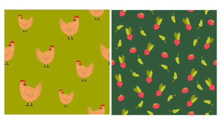 Set of two seamless patterns with hens and vegetables. Vector illustration