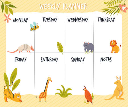 Weekly planner card, banner with cute wild animals. Vector illustration Illusztráció