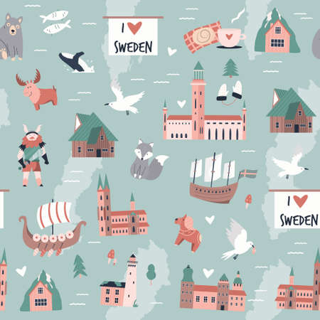 Seamless pattern with famous symbols and landmarks of Sweden. Vector illustration for textile, fabric, greeting cards, souvenirs designs