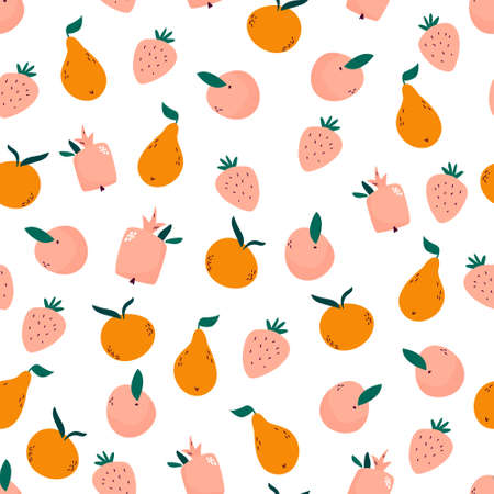 Bright seamless pattern with juicy ripe fruits. Illusztráció