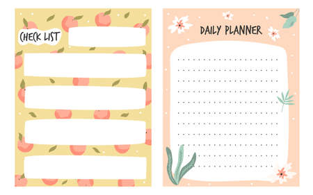 Set of to do, check lists, planners in a cute style