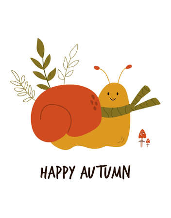 Funny smiling snail in scarf. Autumn vibes.