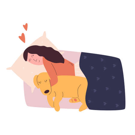 Sleeping girl hugging her dog. Love your pet concept