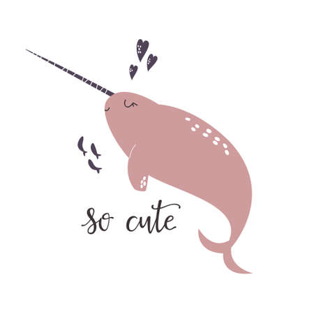 Sweet design with cute narwhal. Nursery art print