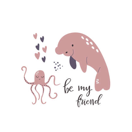 Sweet design with cute manatee and octopus. Nursery art print