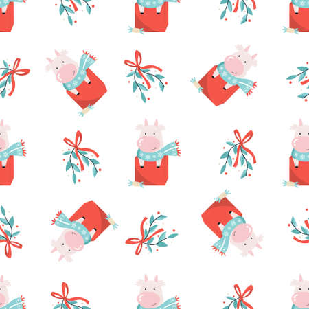 Holiday seamless pattern with cute cows and decorative elements. New Year design for wrapping paper, gift boxes, fabric.