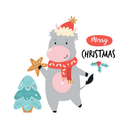 Funny cow decorating fur tree. Merry Christmas illustration, poster with cute animal