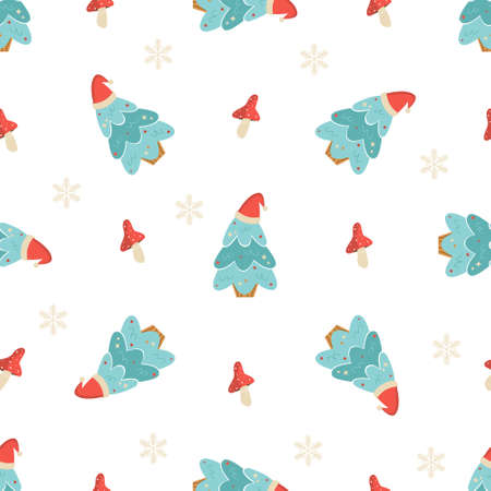 Holiday seamless pattern with Christmas trees and decorative elements. New Year design for wrapping paper, gift boxes, fabric. 矢量图像