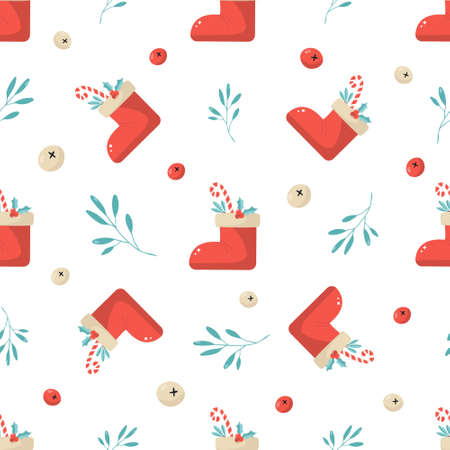 Holiday seamless pattern with Christmas boots and decorative elements. 矢量图像