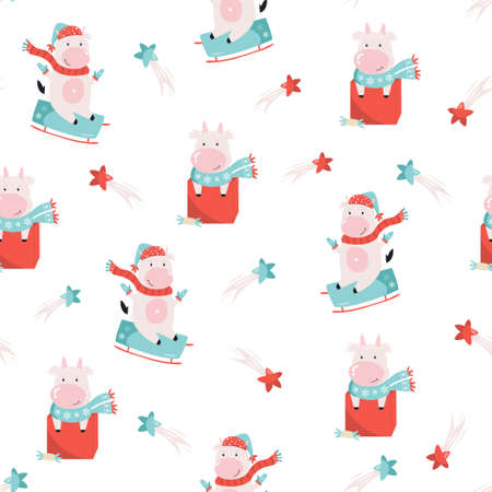 Holiday seamless pattern with cute cows and decorative elements. 矢量图像