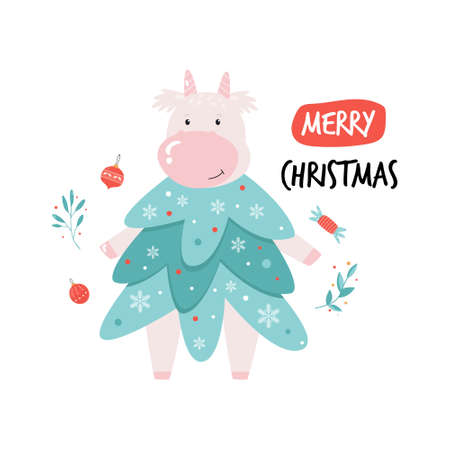 Merry Christmas illustration, poster with cute cow dressed in fir costume. Vector design 矢量图像