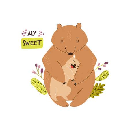 Cute brown bears family. Baby cartoon design. Nursery art print. Vector illustration.