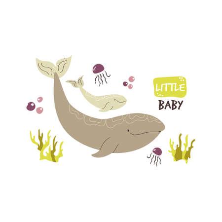Cute whale family. Baby cartoon design. Nursery art print. Vector illustration.