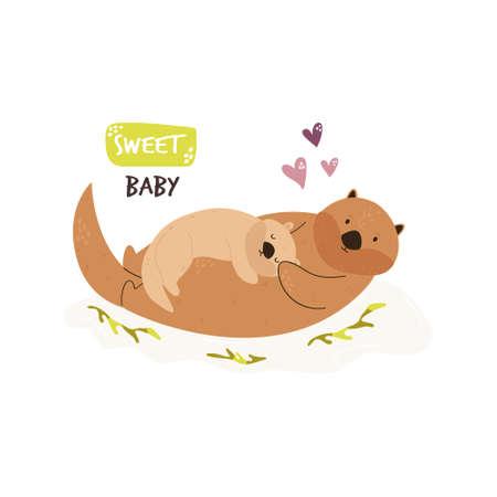 Cute swimming otter family. Baby cartoon design. Nursery art print. Vector illustration. Illusztráció