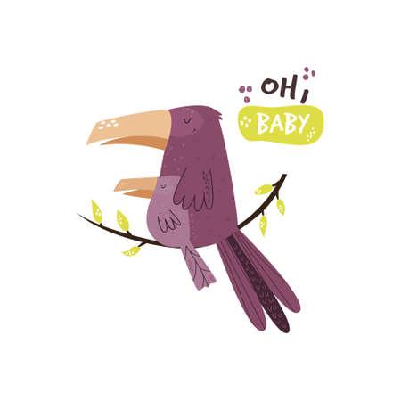 Cute bird family sitting on a branch. Baby cartoon design. Nursery art print. Vector illustration.