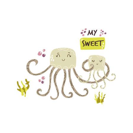Cute jellyfish family. Baby cartoon design. Nursery art print. Vector illustration.