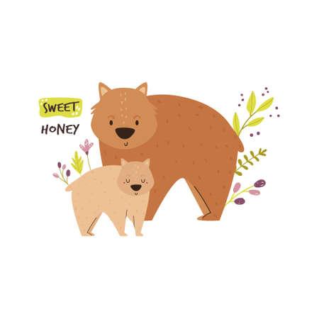 Cute wombat family. Baby cartoon design. Nursery art print. Vector illustration. Illusztráció