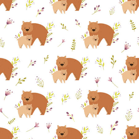 Seamless pattern with cute animals families wombat, bear, otter. Vector illustration for nursery designs, wrapping paper, clothing, fabric. 矢量图像
