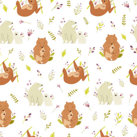 Seamless pattern with cute animals families polar and brown bears, sloth. Vector illustration for nursery designs, wrapping paper, clothing, fabric.