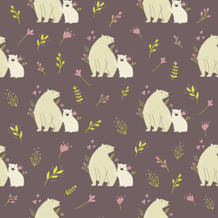 Seamless pattern with cute polar bears and field plants. Vector illustration for nursery designs, wrapping paper, clothing, fabric. 矢量图像