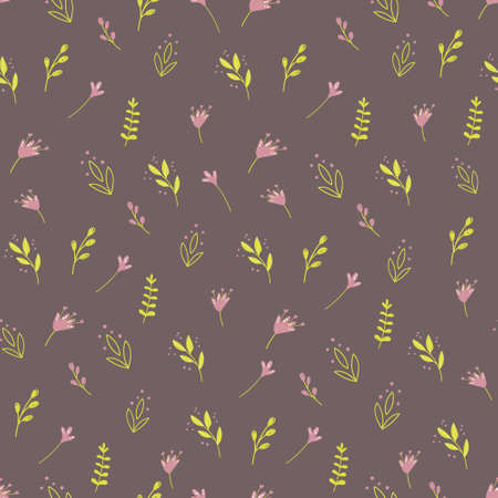 Seamless pattern with colorful wild plants and flowers. Vector illustration for textile design, wallpaper, wrapping paper.