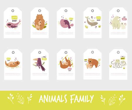 Set of gift tags and labels with cute animal families. Collection isolated on white background 矢量图像