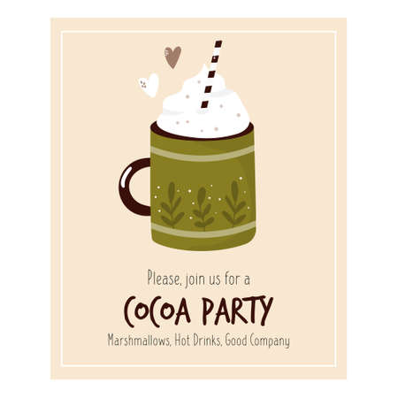 Cocoa party invitation template with decorative cup. Winter time. Vector illustration