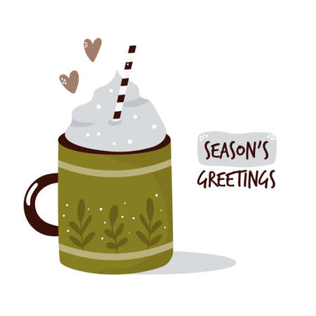 Colorful card with cup of cocoa and cream. Winter greetings. Vector illustration