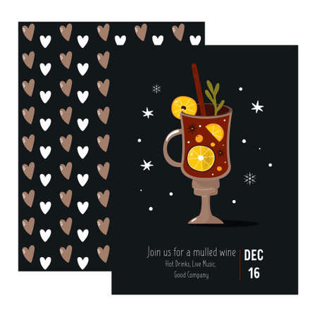 Invitation card with a red wine. Winter time. Vector illustration