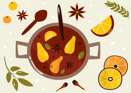 Colorful poster with mulled wine, citrus and spices. Christmas beverage, hand drawn vector illustration.