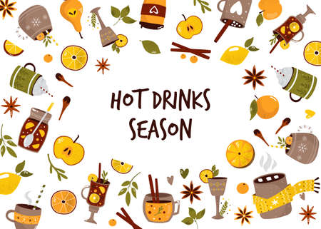 Colorful collection with hot drinks mulled wine, cocoa, coffee. Design, poster for menu, special propositions. Hand drawn vector illustration 矢量图像
