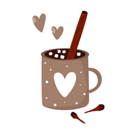 Colorful card with cup of cocoa and marshmallow. Winter greetings. Vector illustration 矢量图像