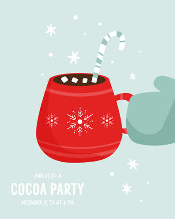 Cocoa party invitation template with decorative cup. 矢量图像