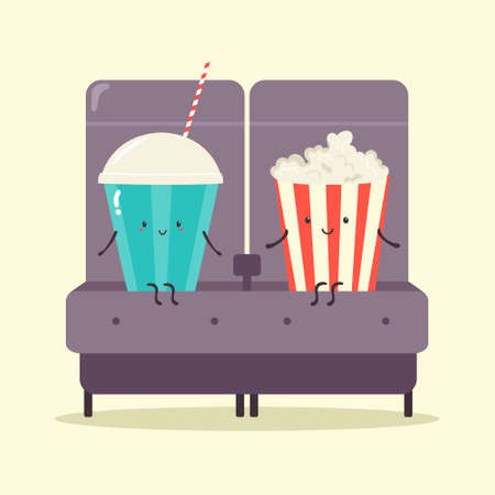 Two friends soda and pop corn in the cinema. Comic illustration