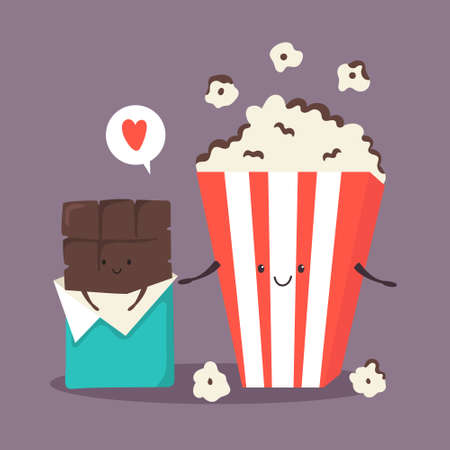 Popcorn and chocolate bar. Sweet friends. 矢量图像
