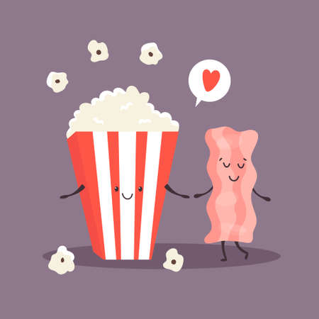 Popcorn and bacon. Cheerful friends. 矢量图像