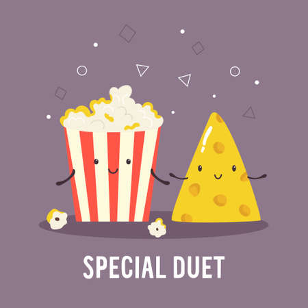 Popcorn and cheese. Cheerful friends  illustration
